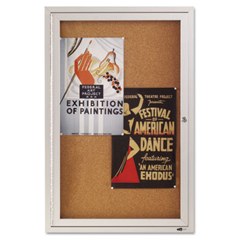 Quartet® Enclosed Bulletin Board, Natural Cork/Fiberboard, 24 x 36, Silver Aluminum Frame