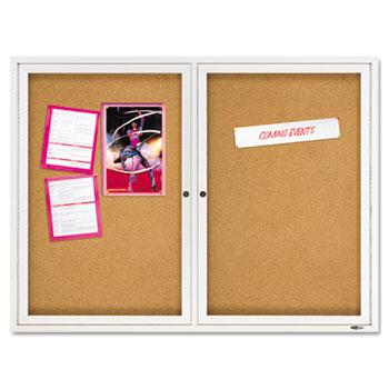 Quartet® Enclosed Bulletin Board, Natural Cork/Fiberboard, 48 x 36, Silver Aluminum Frame