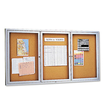 Quartet® Enclosed Bulletin Board, Natural Cork/Fiberboard, 72 x 36, Silver Aluminum Frame