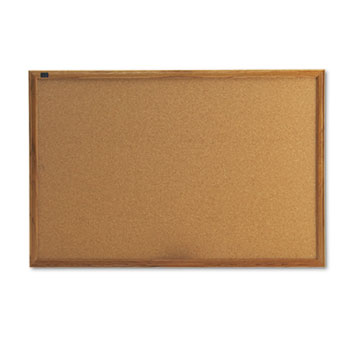 Quartet® Classic Cork Bulletin Board, 36 x 24, Oak Finish Frame