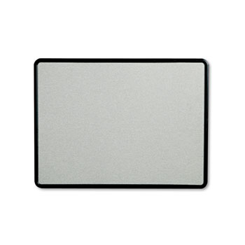 Contour Fabric Bulletin Board, 48 x 36, Gray Surface, Black Plastic Frame