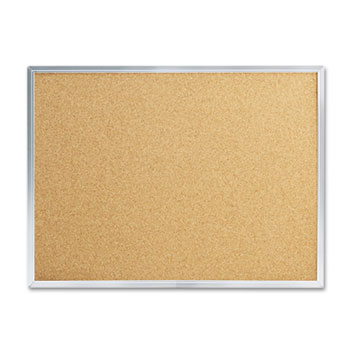 Mead® Cork Bulletin Board, 24 x 18, Silver Aluminum Frame