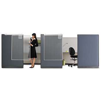"""Workstation Privacy Screen, 36"""" W x 48"""" H, Translucent Clear/Silver"""