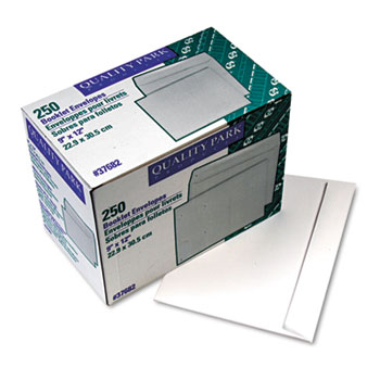 Quality Park™ Open Side Booklet Envelope, Contemporary, 12 x 9, White, 250/Box