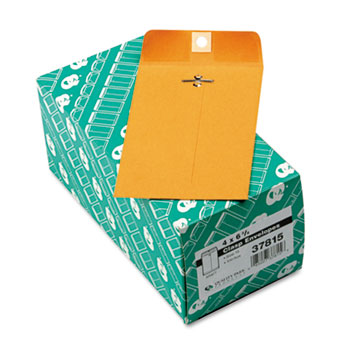 Quality Park™ Clasp Envelope, 4 x 6 3/8, 28lb, Brown Kraft, 100/Box