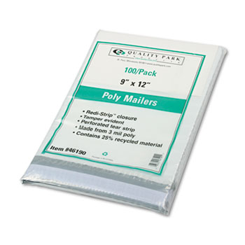 Quality Park™ 4Redi-Strip Poly Mailer, Side Seam, 9 x 12, White, 100/Box