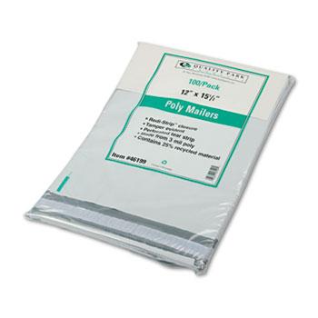 Redi-Strip Poly Mailer, Side Seam, 12 x 15 1/2, White, 100/Box