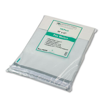 Quality Park™ Redi-Strip Poly Mailer, Side Seam, 14 x 17, White, 100/Box