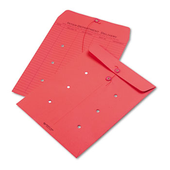 Quality Park™ Colored Paper String & Button Interoffice Envelope, 10 x 13, Red, 100/Box