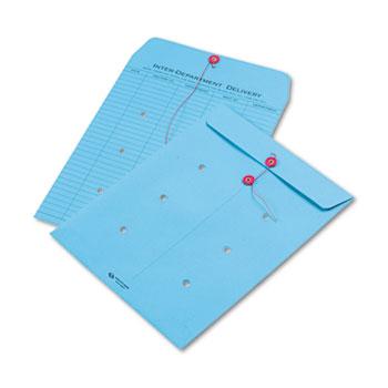 Quality Park™ Colored Paper String & Button Interoffice Envelope, 10 x 13, Blue,100/Box