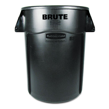 Brute Vented Trash Receptacle, Round, 44gal, Black