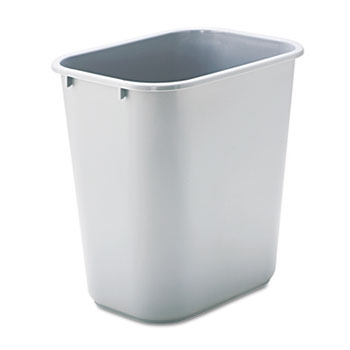 Rubbermaid® Commercial Deskside Plastic Wastebasket, Rectangular, 7gal, Gray