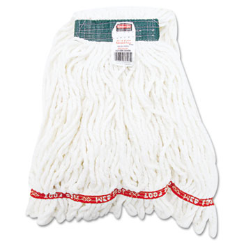 Rubbermaid® Commercial Web Foot Shrinkless Looped-End Wet Mop Head, Cotton/Synthetic, Medium, White