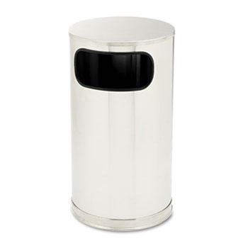 Rubbermaid® Commercial European & Metallic Side-Opening Receptacle, Round, 12 gal, Satin Stainless
