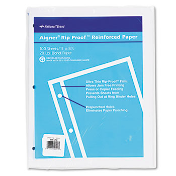National® Rip Proof 20-lb, Reinforced Filler Paper, Unruled, 11 x 8-1/2, WE, 100 Sheets/Pk