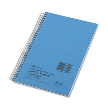 National® Subject Wirebound Notebook, College Rule, 5 x 7 3/4, White, 80 Sheets