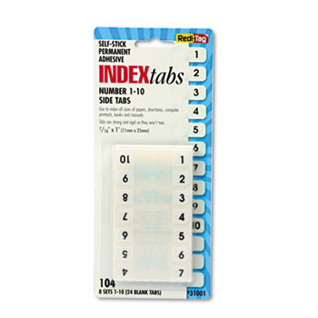 Redi-Tag® Side-Mount Self-Stick Plastic Index Tabs Nos 1-10, 1 inch, White, 104/Pack