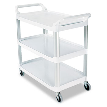 Rubbermaid® Commercial Open Sided Utility Cart, Three-Shelf, 40-5/8w x 20d x 37-13/16h, Off-White