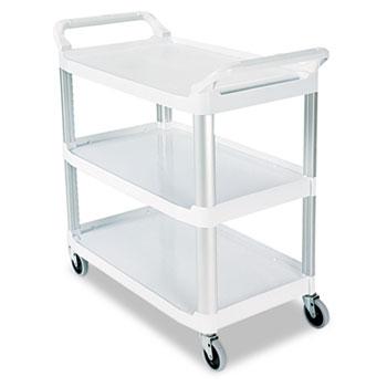 Open Sided Utility Cart, Three-Shelf, 40-5/8w x 20d x 37-13/16h, Off-White