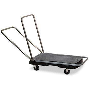 "Rubbermaid® Commercial Utility-Duty Home/Office Cart, 250 lb Capacity, 20 1/2"" x 32 1/2"" Platform, BK"