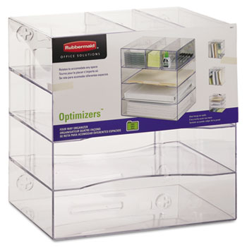 Rubbermaid® Optimizers Four-Way Organizer with Drawers, Plastic, 10 x 13 1/4 x 13 1/4, Clear