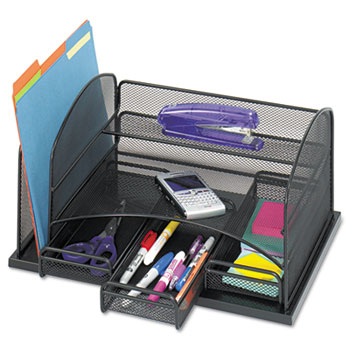 Safco® Three Drawer Organizer, Steel, 16 x 11 1/2 x 8 1/4, Black