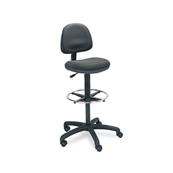 Safco® Precision Extended Height Swivel Stool w/Adjustable Footring, Black Fabric