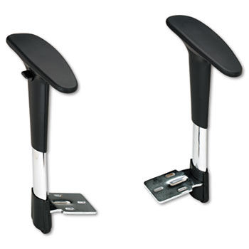 Safco® Adjustable T-Pad Arms for Metro Series Extended-Height Chairs, Black/Chrome