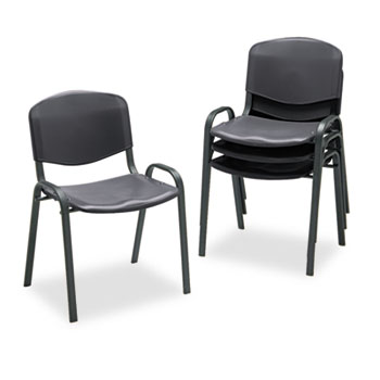 Safco® Stacking Chairs, Black w/Black Frame, 4/Carton