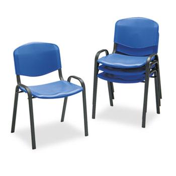 Safco® Contour Stacking Chairs, Blue w/Black Frame, 4/Carton