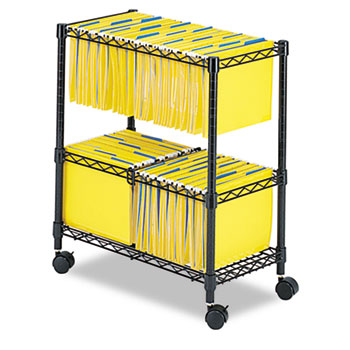 Safco® Two-Tier Rolling File Cart, 25-3/4w x 14d x 29-3/4h, Black