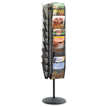 Safco® Onyx Mesh Rotating Magazine Display, 30 Compartments, 16-1/2w x 66h, Black