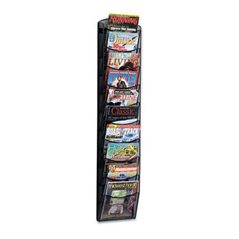 Safco® Onyx Mesh Literature Rack, Ten Compartments, 10-1/4w x 3-1/2d x 50-3/4h, Black