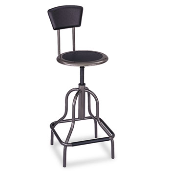 Safco® Diesel Series Industrial Stool w/Back, High Base, Pewter Leather Seat/Back Pad