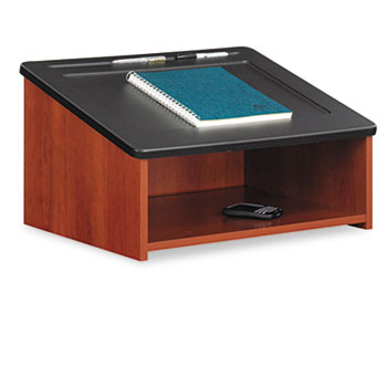 Safco® Tabletop Lectern, 24w x 20d x 13-3/4h, Cherry/Black