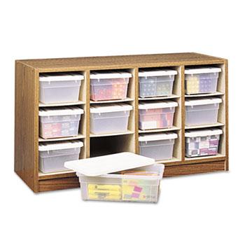 Safco® Modular Wood/Plastic 12 Bin Supplies Organizer, 34 x 13 x 19, Medium Oak/Clear