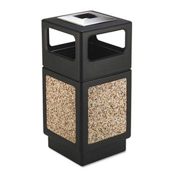 Safco® Mayline® Canmeleon Ash/Trash Receptacle, Square, Aggregate/Polyethylene, 38gal, Black