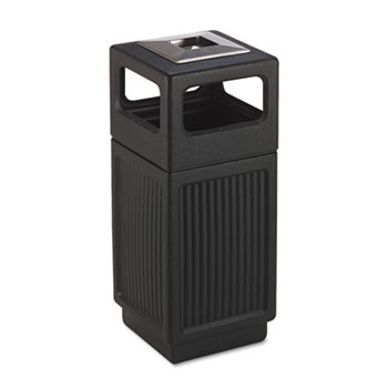 Canmeleon Ash/Trash Receptacle, Square, Polyethylene, 15gal, Textured Black