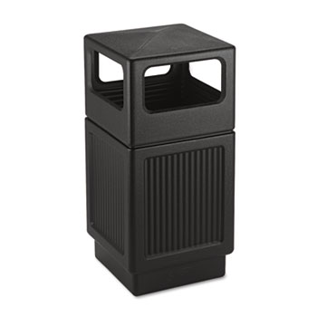 Canmeleon Side-Open Receptacle, Square, Polyethylene, 38gal, Textured Black