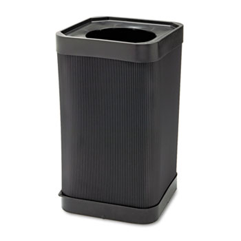 At-Your Disposal Top-Open Waste Receptacle, Square, Polyethylene, 38gal, Black
