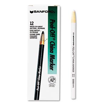 Sharpie® Peel-Off China Markers, White, Dozen