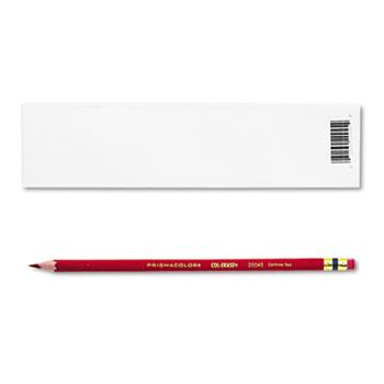 Col-Erase Pencil w/Eraser, Carmine Red Lead/Barrel, Dozen