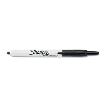 Sharpie® Retractable Permanent Marker, Fine Point, Black