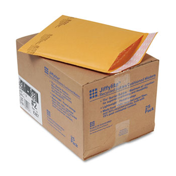 Jiffylite Self-Seal Mailer, Side Seam, #2, 8 1/2 x 12, Golden Brown, 25/Carton