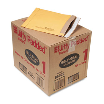Jiffy Padded Self-Seal Mailer, #1, 7 1/4 x 12, Golden Brown, 100/Carton
