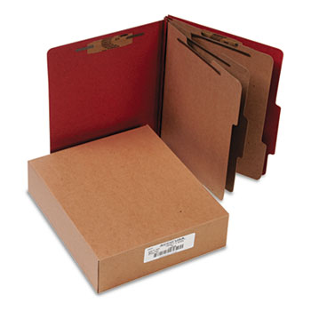 Pressboard 20-Pt. Classification Folder, Letter, 8-Section, Earth Red, 10/Box