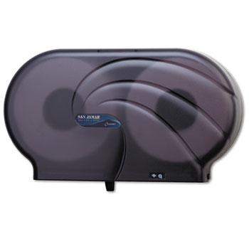 "San Jamar® Twin 9"" JBT Toilet Tissue Dispenser, Oceans, 19 x 5 1/4 x 12, Black Pearl"