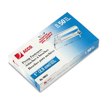 ACCO® Premium Two-Piece Paper File Fasteners, One Inch Capacity, 50/Box