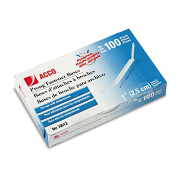 ACCO® Prong Bases for Two-Piece Paper File Fasteners, One Inch Capacity, 100/Box