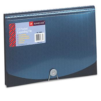 Smead® Expanding File, 12 Pockets, Poly, Letter, Black/Blue
